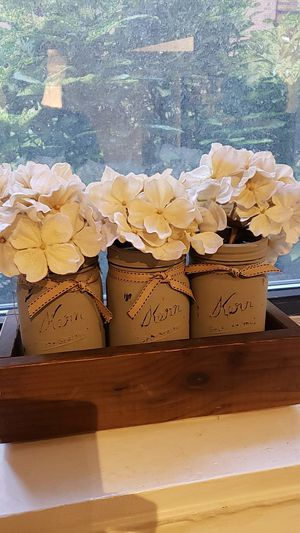 Decorative Jars with Faux flowers in wooden box for Sale in Brooklyn, NY