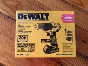 BRAND NEW IN BOX - DeWalt DCD777C2 20V Brushless Motor Compact Drill/Driver Kit - includes 2 batteries, charger & bag! 🛠 for Sale in PA, US