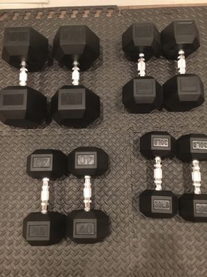 $ 310 One pair90lb , $140 one pair 40lb and $100 one pair 30 Rubber Hex dumbbells. New for Sale in Phoenix, AZ