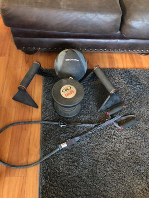 Nike medicine ball 12.5 lbs 30 pound dumbbell push up stands nd resistance band for Sale in Fresno, CA