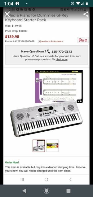New emedia piano for dummies 61 key keyboard starter pack for Sale in Lincoln Acres, CA