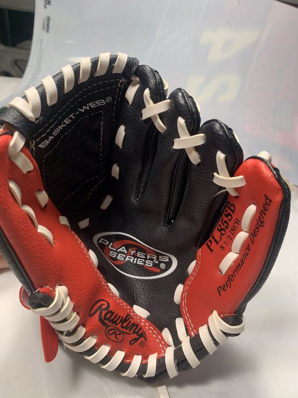Rawlings Players Series PL85SB Youth Baseball Glove Red/Black 8.5 In