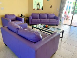 Couch, Loveseat, Chair Set - Purple leather & in good condition! for Sale in Venice, FL