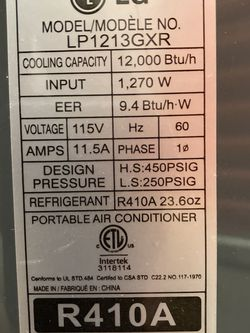 LG 12000 BTU Portable AC for Sale in Seattle,  WA