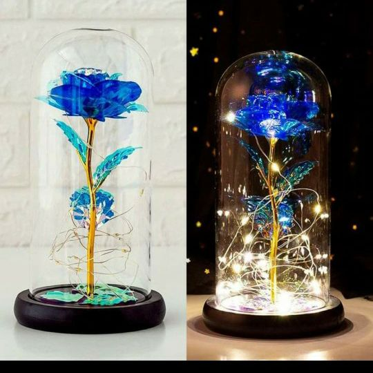 Blue Galaxy Rose Led Valentines