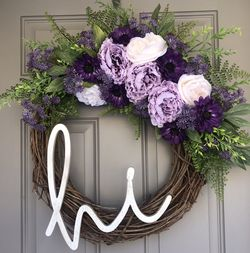 """A Pop Of Purple To Welcome Spring 18"""" Wreath for Sale in Lawrence,  MA"""