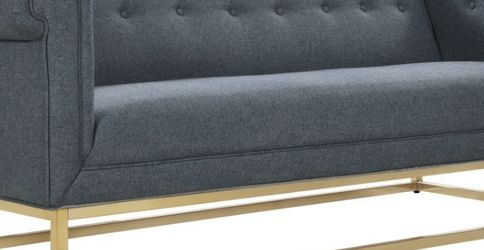 NEW-IconicHome Palmira Sofa ButtonTufted Linen-Textured Plush Cushion Brass Finished Metal Bass-Blue for Sale in Columbus,  OH