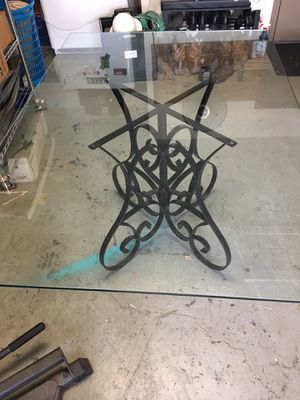 Glass top & wrought iron base table for Sale in Brandon, FL