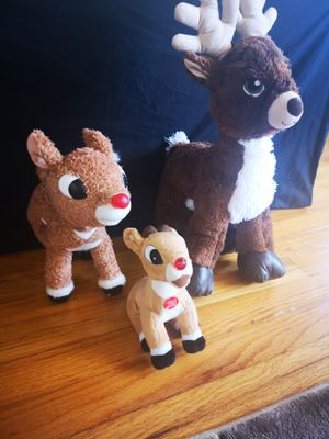 Lot of 3 Rudolph the red nose Reindeer Plush for Sale in Alpine, NJ