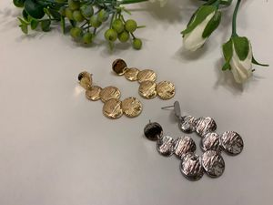 Long Vintage Round Coin Drop Disc Earrings, Gold and Silver Color (2 Sets) for Sale in Irvine, CA