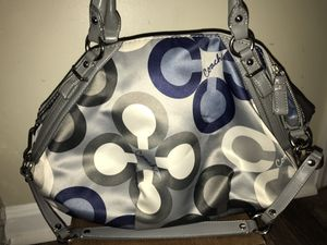 Coach Purse - Blue, White and Gray/Silver for Sale in Haymarket, VA