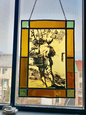 Pretzel delivery boy painted leaded stained glass. for Sale in Alexandria, VA