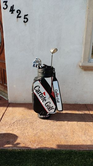 Carbite Golf Clubs and Bag. Irons: 3 to 9. Pitching Wedge, Putter, Driver. Putter is an Arnold Palmer P-105. Driver is an R7 460 Taylor Made for Sale in San Diego, CA