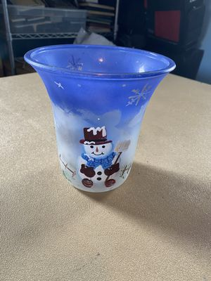 Glass snowman vase / candle holder for Sale in MERRIONETT PK, IL