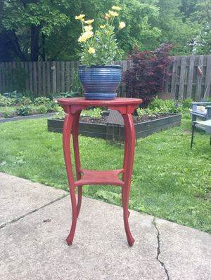 Antique Painted Wood Plant Stand/ Accent Table. Stamped by Maker. No contact / Porch pick up for Sale in Berea, OH