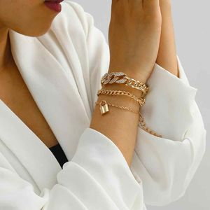 European Style Multilayer Pendant Crystal Chunky Chian Bracelet, Gold Color for Sale in Irvine, CA