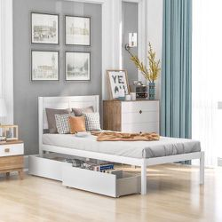 New White Wooden Twin 2 Drawer Storage Platform Bed Frame with Headboard for Sale in West Hollywood,  CA