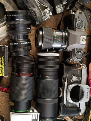 35mm camera lot lens bidues flash Cannon for Sale in Inverness, IL