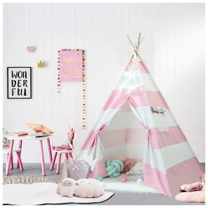 Teepee Tent Playhouse Kids Portable Dome Indoor House Canvas Carry Case Wooden Storage Pink White for Sale in Marquette, MI