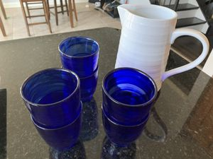 Pitcher with 6 blue glass cups for Sale in Fairfax, VA