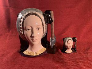 ANNE BOLEYN/ROYAL DOULTON Vintage Handpainted Porcelain Toby Mug/Jug Set (of two) for Sale in Dade City, FL