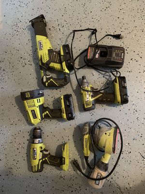 Set off rioby tools ( drill driver, impact driver, flash light, finish sander with power cord ,reciprocating saw, 3 batteries and charger..) for Sale in Land O Lakes, FL