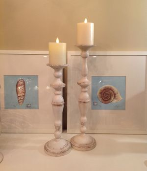 NEW DISTRESSED METAL TALL CANDLE HOLDERS ~ 19 1/2 & 16 1/8 HEIGHT for Sale in Thousand Oaks, CA