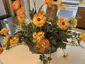 Silk flower arrangement poppies daisies etc. in tin paid 90.00 for Sale in Durham, NC