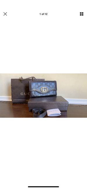 GUCCI Sukey Dark Brown Leather Continental Long Bifold Wallet 232434 for Sale in Loganville, GA