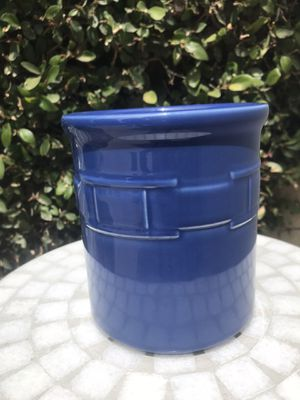 Longaberger Pottery Cornflower Blue Woven Traditions Utensil Crock/ Holder/ Kitchen Container for Sale in Seal Beach, CA