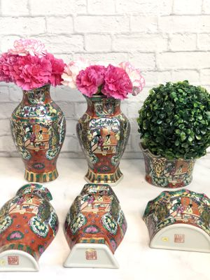 Chinese Handpainted Porcelain Half Vases for Sale in Annandale, VA