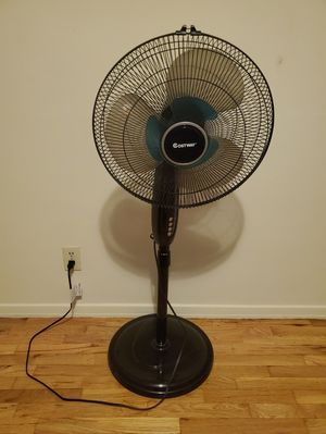 COSTWAY Pedestal Fan, 16-Inch Adjustable Height Fan, 3-Speed Digital Control, Timer, LCD Display, Double Blades, Remote Control, Oscillating Stand Fa for Sale in Los Angeles, CA