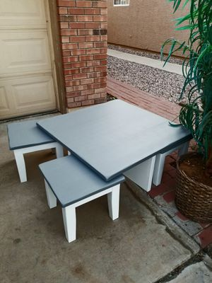 Lovely space saver two tone deep gray and white wood coffee table with 4 under storage chairs or ottoman stools or kids table 40 x 40 x 17H for Sale in Chandler, AZ