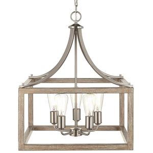 Boswell Quarter 5-Light Brushed Nickel Chandelier with Painted Weathered Gray Wood Accents. Brand New! for Sale in Fort Lauderdale, FL