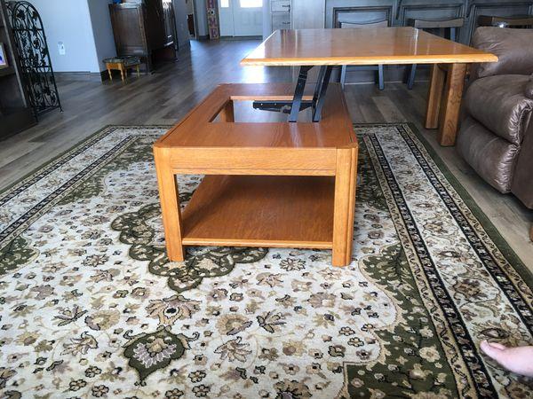 Oak lift coffee table