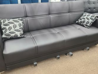 New Black Leather Sofa Bed With Storage And Pillows for Sale in College Park,  MD