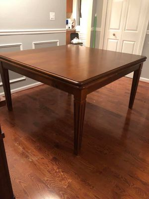 For Sale!!! Must Go!!! Just in time for Christmas Dinner. Expandable Dining Room Table, 10 leather chairs, and china cabinet for Sale in Forest Heights, MD
