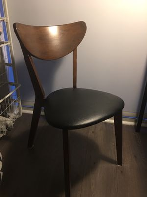 1 Wooden Chair with Leather Cushion Seat for Sale in Chicago, IL