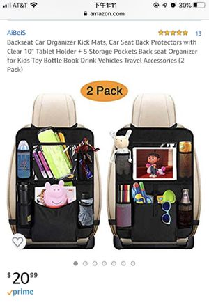 "Backseat Car Organizer Kick Mats, Car Seat Back Protectors with Clear 10"" Tablet Holder + 5 Storage Pockets Back seat Organizer for Kids Toy Bottle B for Sale in Murrieta, CA"