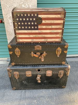 American decor and vintage steam footlocker trunk boxes for Sale in Buena Park, CA