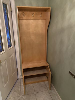 Wood wall coat rack with storage for Sale in Queens, NY