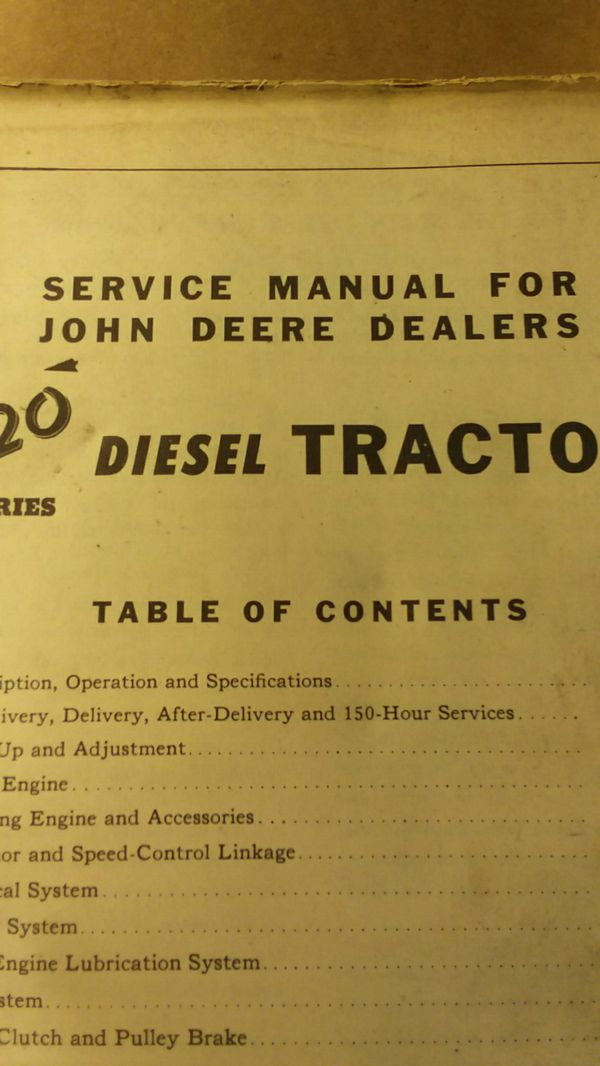 John deer tractor manual