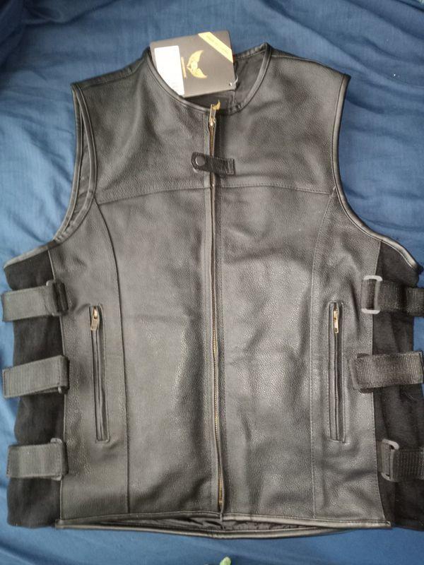 Genuine leather motorcycle vest 2xl