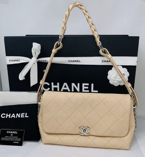 Chanel Quilted Flap Bag Braided With Style Shoulder Bag Beige NEW AUTHENTIC for Sale in Corona, CA