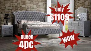 BRAND NEW VELVET GRAY QUEEN BEDROOM SET 4pc $1109 for Sale in Atlanta, GA
