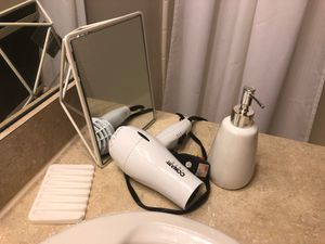 Bathroom items: Hair dryer, soap dispenser, mirror for Sale in Washington, DC