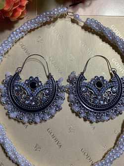 Free shipping .silver oxidized antique handmade earrings with pearl necklace . for Sale in Arlington,  VA