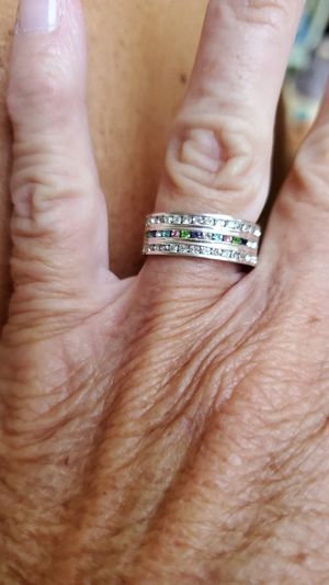 Beautiful real silver band with multiple colors stones for Sale in Reynoldsburg, OH