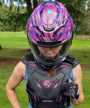 Motorcycle Helmet and Vest, Women's, Brand New - Icon Brand for Sale in Lacey, WA