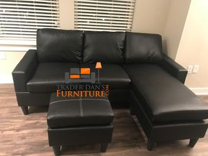 Brand New Black Faux Leather Sectional Sofa Couch + Ottoman for Sale in Silver Spring, MD